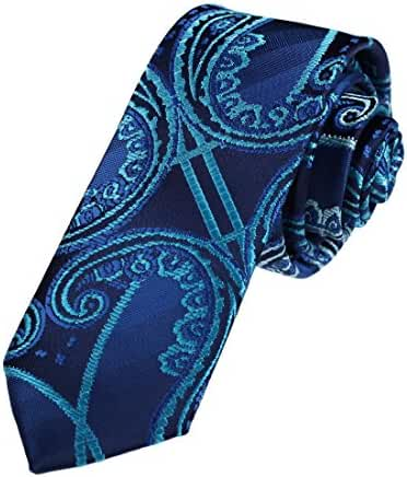 DAE7B13-15 Boyfriend Thin Tie Woven Microfiber Patterned Skinny Tie By Dan Smith