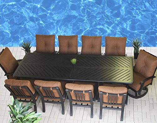 Heritage Outdoor Living Cast Aluminum Barbados Outdoor Patio 11pc Set with Series 4000 44 x 120 Rectangle Table - Includes Cushions - Antique Bronze Finish