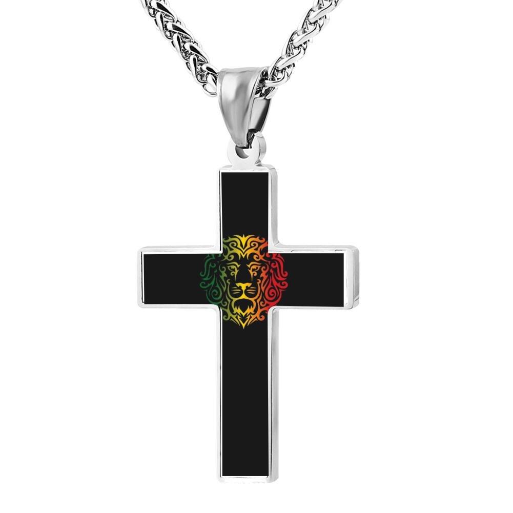 LUQeo Rasta Lions Logo Cross Necklace Christ Pendant Devoted Religious Jewelry