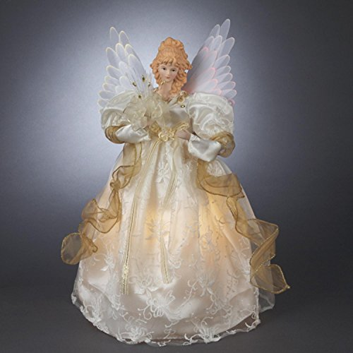 Kurt Adler 14-Inch Fiber Optic Ivory and Gold Animated Angel Treetop (Tree Angel Topper Ribbon)