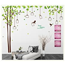 Picture Frames Tree with Leaves Owl Birds Removable Wall Decal Decor Sticker,Sweet Memory Character Tree