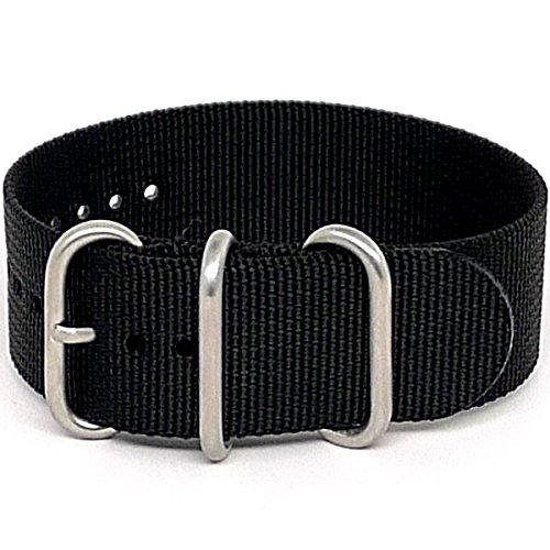 DaLuca Ballistic Nylon Military 1 Piece Watch Strap - Black (Matte Buckle) : 20mm