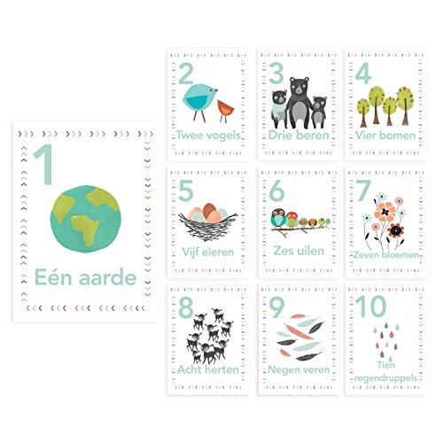 Woodland Number Counting Wall Cards in Dutch, Set of Ten 5x7 Wall Art Prints, Forest Animal Nursery Wall Art Decor, Kid's Art Decor, Gender Neutral Nursery, Nature Themed, Woodland Nursery