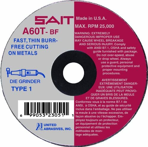 SAIT 23266 Type 1 7 x 1//16 x 5//8-Inch 8732 Max RPM A60T United Abrasives Burr Free Cut-Off Wheels 50-Pack