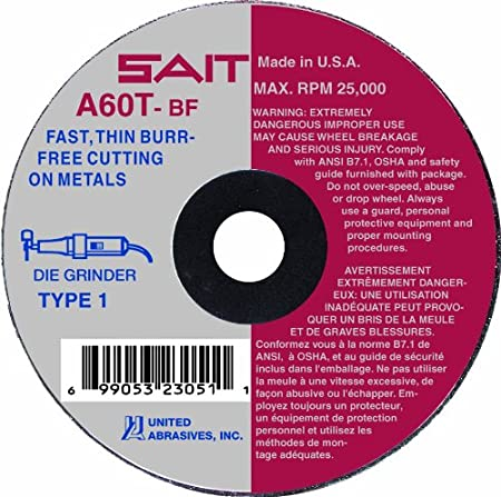 100-Pack Burr Free Cut-Off Wheels United Abrasives SAIT 23013 Type 1 2-Inch x .035-Inch x 1//4-Inch 30558 Max RPM A60T