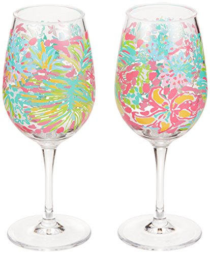 Lilly Pulitzer Acrylic Wine Glass Set, Spot Ya, Pink, Pack of (Cute Wine Glasses)