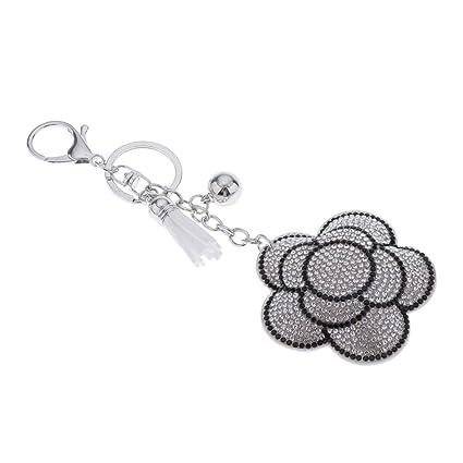 Sharplace Colgantes de Llavero de Flor Cristal Diamante con ...
