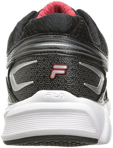 Fila Men's Memory Maranello 4 Running Shoe, Black/Fila Red/Metallic Silver, 9.5 M US