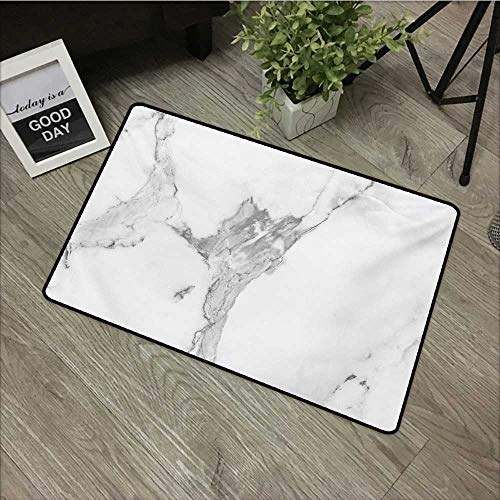 - Learning pad W35 x L59 INCH Marble,Abstract Stained Hazy Pattern Natural Textured Architectural Background Theme,Grey White Dust Easy to Clean, no Deformation, no Fading Non-Slip Door Mat Carpet