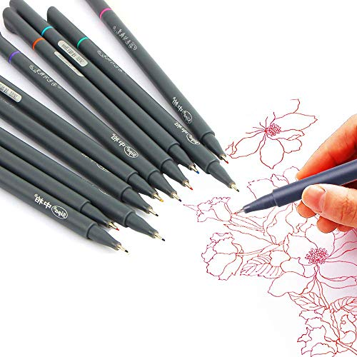 Huhuhero Fineliner Color Pen Set, 0.38 mm Fine Line Drawing Pen, Porous Fine Point Markers Perfect for Writing Note Taking Calendar Agenda Coloring Art School Office Supplies, Pack of 10