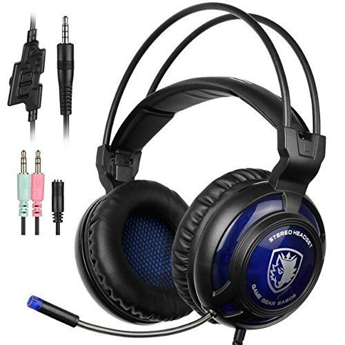 SADES SA805 New Multi-Platform Gaming Headset Headphones For Xbox one PS4 PC Laptop Mac iPad iPod (Black&Blue)