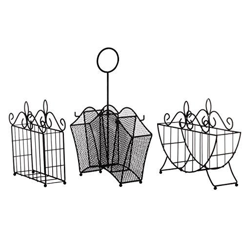 (3 Piece Metal Serving Caddy Table Organizer Set)