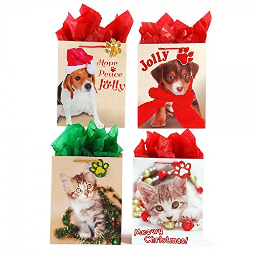 Large Christmas Cuties Animal Pet Gift Bags by FLOMO