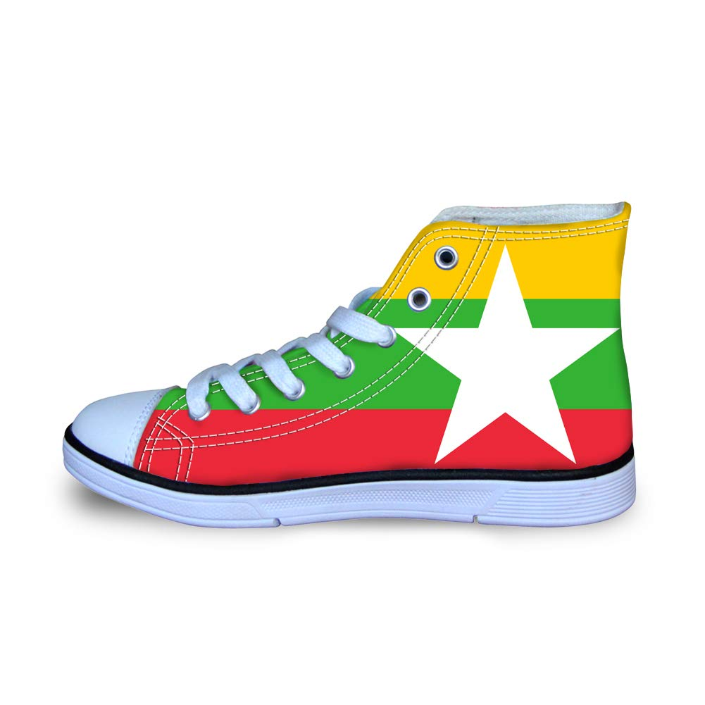 Owaheson Boys Girls Casual Lace-up Sneakers Running Shoes Myanmar Flag