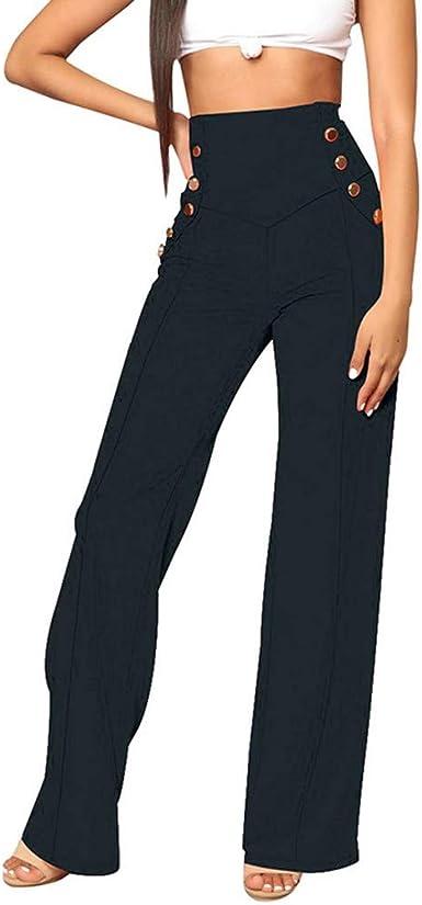 Geilisungren Pantalones Para Mujer Pantalones Con Boton De Cintura Alta Para Mujer De Moda Con Cremallera Solida Suelta Casual Pantalones Anchos De Pierna Ancha Amazon Es Ropa Y Accesorios