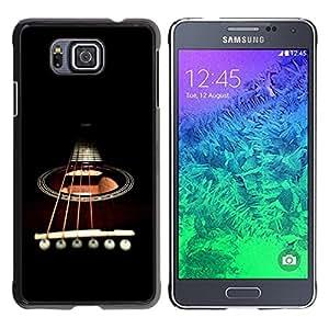 TopCaseStore / la caja del caucho duro de la cubierta de protección de la piel - Minimalist Guitar & Strings - Samsung GALAXY ALPHA G850