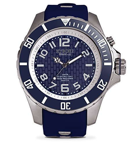 KYBOE! Power Stainless Steel Quartz Watch with Silicone Strap, Blue, 22 (Model: ()