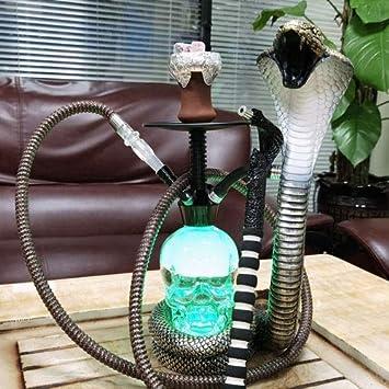 WJMT Forma Hookah Shisha Conjunto Cobra Shisha Pipe Nargila Conjunto con la Manguera de Silicona Lavable y Colores de luz LED, fácil de Montar (Color : B)