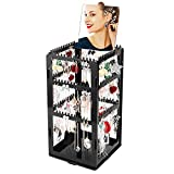 DesignSter Stud Earring Holder - Premium Acrylic 360°Rotatable 276 Hanger Jewelry Necklace Display Rack Organizer Stand Tower with Mirror (Black)