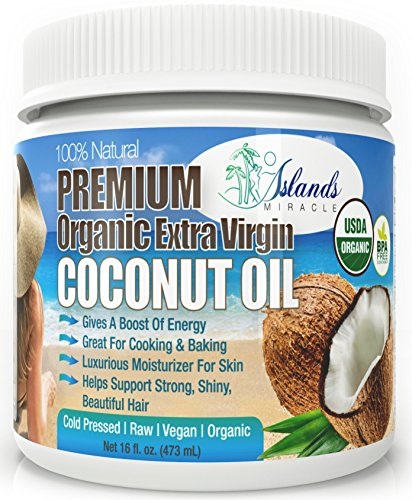 Organic Coconut Oil For Hair and Skin, Cooking & Baking 16oz Raw Cold Pressed