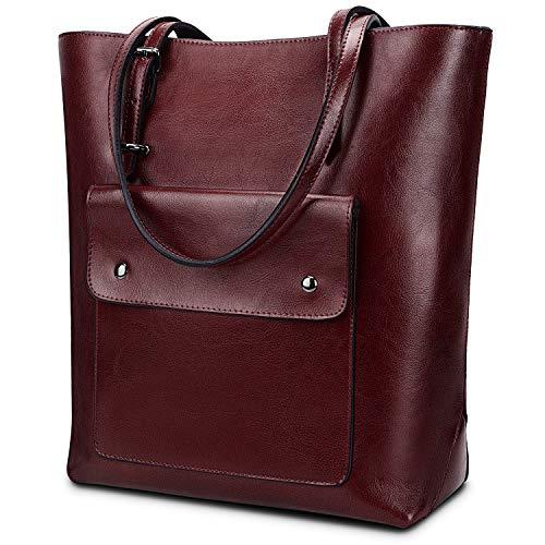 YALUXE Women's Front Pocket Vintage Style Soft Leather Work Tote Large Shoulder Bag Red