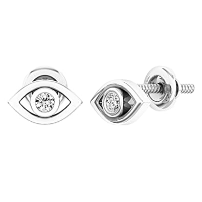 f29d5b441 Image Unavailable. Image not available for. Color: 0.08 Carat (ctw) Sterling  Silver Round White Diamond Ladies Eye Stud Earrings