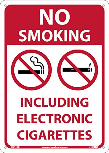 NMC M952AB NO Smoking Including Electronic Cigarettes Sign - 10 in. x 14 in. Standard Aluminum Safety Sign with Graphic, White/Red Text on Red/White Base (Cigarette Base Electronic)