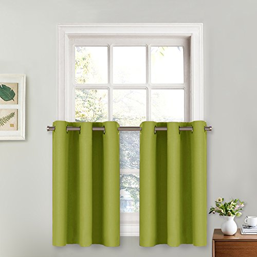 NICETOWN Fresh Green Curtains for Window - Easy Care Home Decor Curtain Panels with Grommet Top (29W by 36L + 1.2 Inches Header, Fresh Green, 2 Panels)