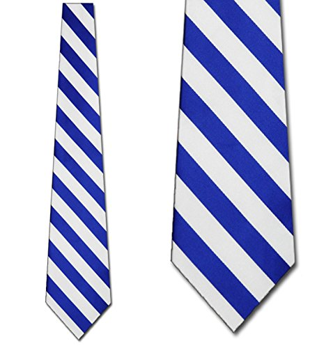 Mens College Royal Blue and White Striped Ties Stripes (Rep Stripe Necktie)