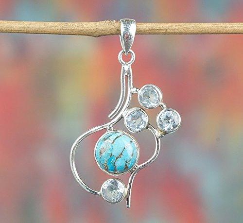 Filigree Stone Multi (Blue Copper Turquoise & Blue Topaz Pendant, 925 Sterling Silver, Multi Stone Pendant, Petite Pendant, Personalised Pendant, Motivating Pendant, Promise Pendant, Great Gift, Round Shape Pendant)