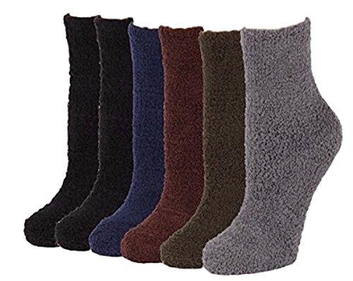 6 Pairs of Super Soft Non-Skid or No Non-Skid Fuzzy Slipper Socks (O/S, Plain)