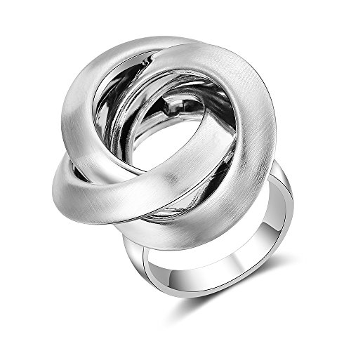Mytys Stainless Steel Silver Circles Cocktail Rings Modern Statement Ring Size 8