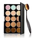 Pro 15 Colors Concealer Contour Palette +1 PC Toothbrush Curve Foundation Brush