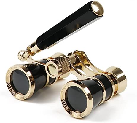 Kingscope 3X25 Vintage Opera Glasses Binoculars for Theater Musical Concert Lorgnette, Black, with Handle
