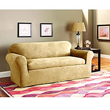 Super Surefit 3Piece Stretch Suede Camel Sofa Evergreenethics Interior Chair Design Evergreenethicsorg
