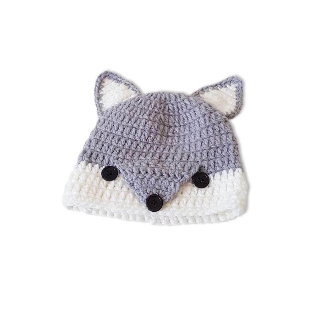 Ewingworld Hat Children Hats Winter Graphic Fox Cap Warm Woollen Beanies Grey YWSH