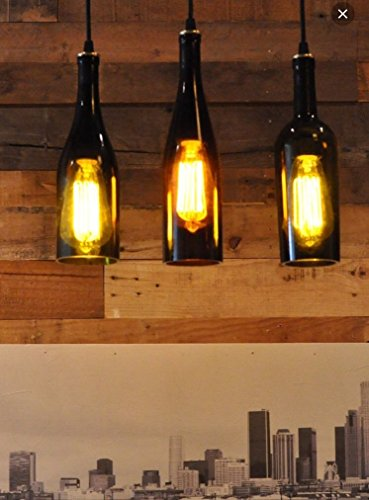 Set of Three Recycled Wine Bottle Hanging Lamp