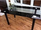 KOSY KOALA STUNNING GLASS TEMPERED BLACK/CLEAR DINING TABLE