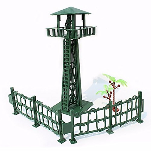 Alpertie Watchtower Military Fence Tree Soldier Playset Toy Army Men Accessory For Sandbox