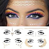 Xiangfeng 4 pcs Face art Stickers tattoo Metallic Shiny Temporary Water Transfer Tattoo