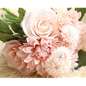 Lemax Artificial Flowers,10 Heads Rose Dahlia Daisy Fake Flower Arrangement Bridal Wedding Bouquets for Home Garden Party Office Décor 84