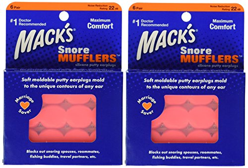 [Macks Snore Mufflers Silicone Putty Earplugs, 6 Pairs (Pack of 2)] (Nose Putty)
