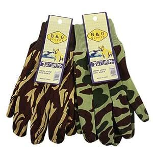 2 Pairs B&G Men's Camouflage Work Gloves Brown & Green