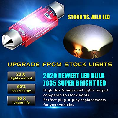 Alla Lighting 6411 6418 LED Lights Bulbs 800lm Xtreme Super Bright Festoon 7065 DE3425 Replacement for License Plate, Interior Map Dome Trunk Vanity Mirror Glove Box Lights, 6000K Xenon White: Automotive
