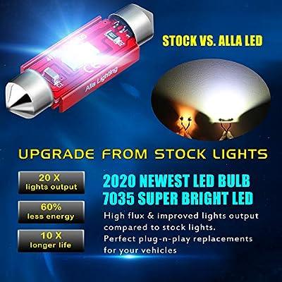 Alla Lighting 800lm Xtreme Super Bright Festoon 31MM DE3175 DE3022 LED Bulbs Replacement for Cars Trucks Interior Map Dome Trunk Courtesy Lights DE3022, 8000K Ice Blue: Automotive