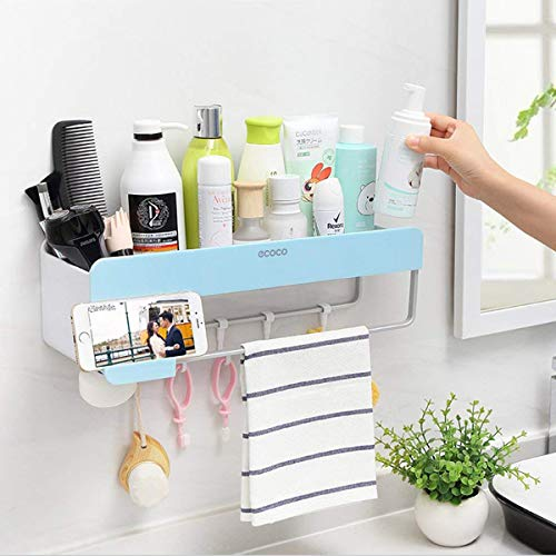 SHE#039S HOME Bathroom Shower Organization Bathroom Wall Organizer Adhesive Shampoo Storage Shower Caddy Wall Rack Shelf with Towel Bar Hanging Hooks Soap Holder