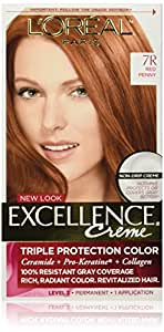 L'Oreal Paris Excellence Creme Hair Color, Red Penny 7R (Packaging may vary)
