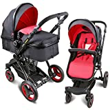 Infant Toddler Baby Stroller Newborn Baby Carriage Folding Pram Stroller Luxury Pushchair Stroller High Landscape (red)