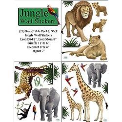 Create-A-Mural Jungle Animal Wall Decals (23) Peel & Stick Wild Jungle Safari Kids Wall Stickers