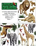 Create-A-Mural Jungle Animal Wall Decals (23) Peel & Stick Wild Jungle Safari Kids Wall Stickers